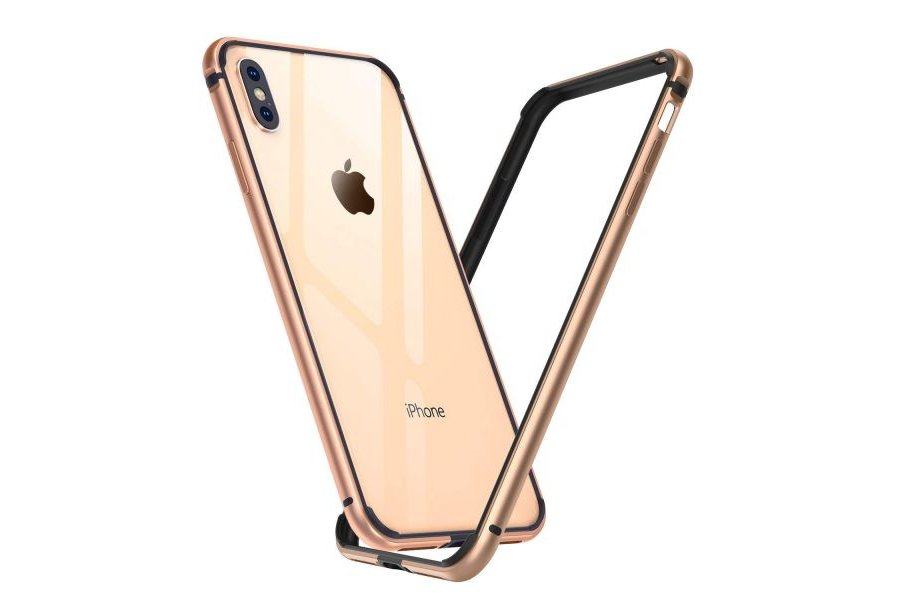 Бампер Silicone-Aluminium для iPhone X/Xs Gold
