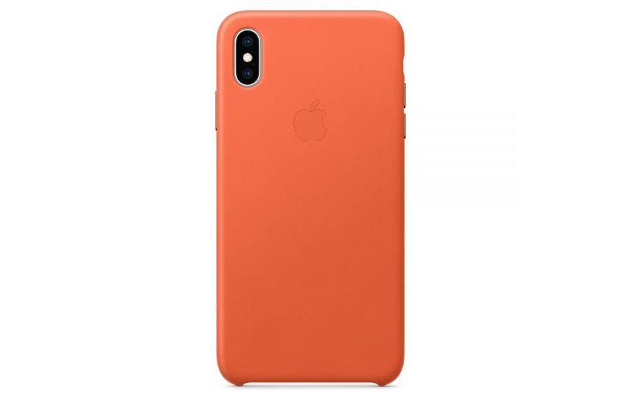 Кожаный чехол Apple Leather Case для iPhone XS Max Orange