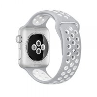 Ремешок Silicone with Flat Silver/White Nike for Apple Watch 38/40mm