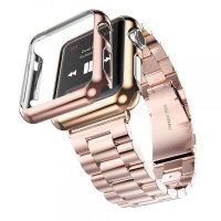 Браслет Steel Watch Band Rose Gold For Apple Watch 42/44mm и HOCO накладка