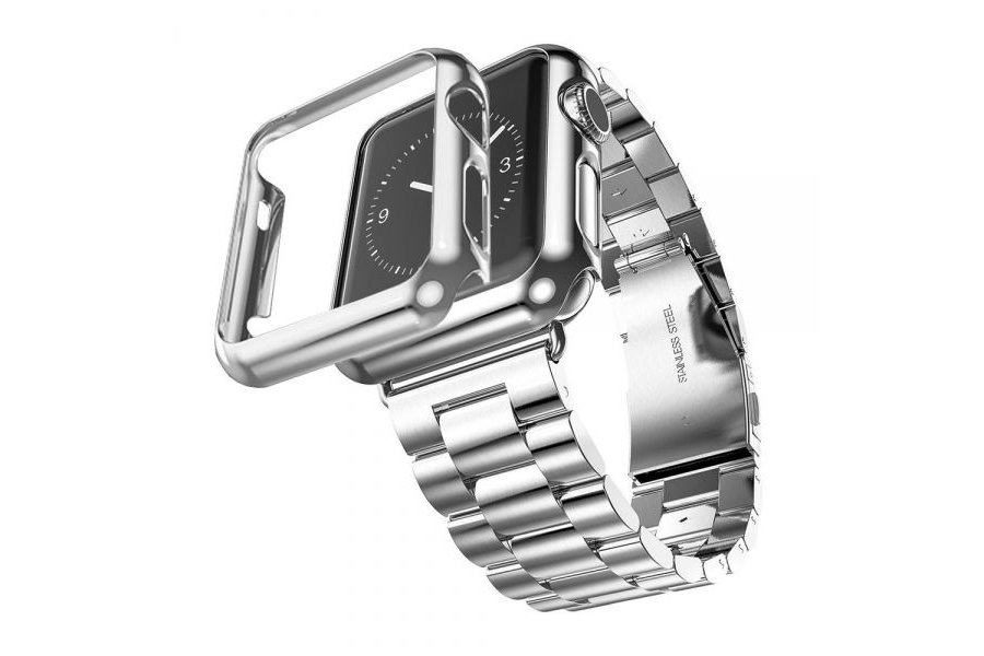 Браслет Steel Watch Band Silver For Apple Watch 42/44mm и  накладка