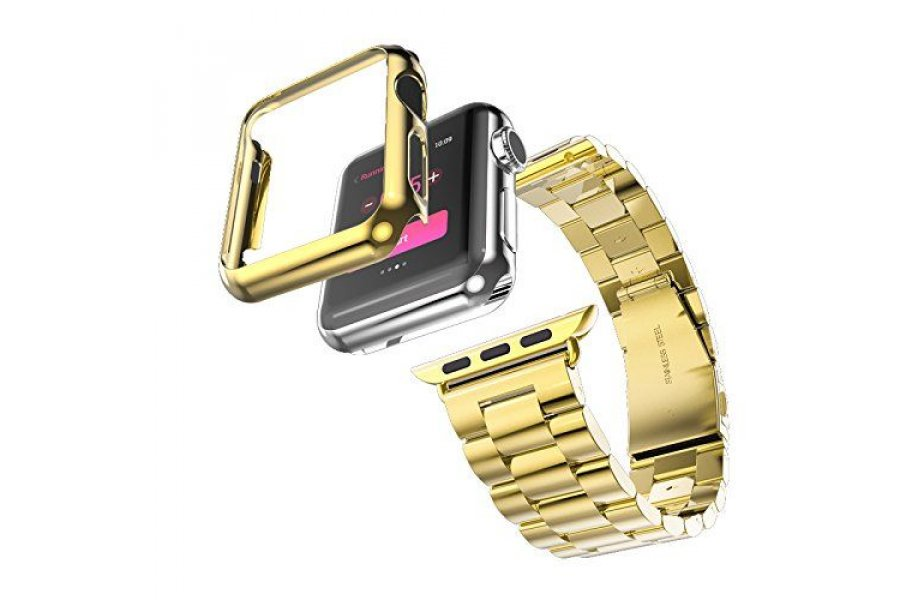 Браслет Steel Watch Band Gold For Apple Watch 38/40mm и HOCO накладка