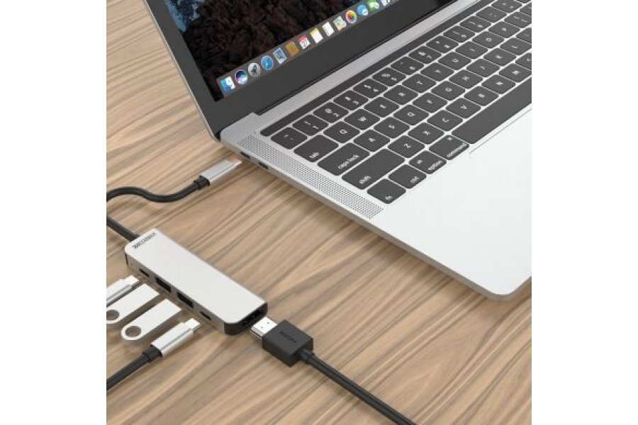 USB-C Концентратор ZAMAX 5-в-1 Type C/USB-C to HDMI / HDTV (30 Гц) + USB3.0 * 2 + зарядка PD + USB C Grey