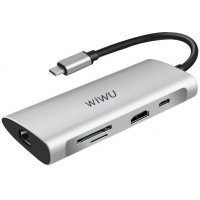 Адаптер WiWU Alpha USB Type-C HUB 8 in 1 A831HRT Grey