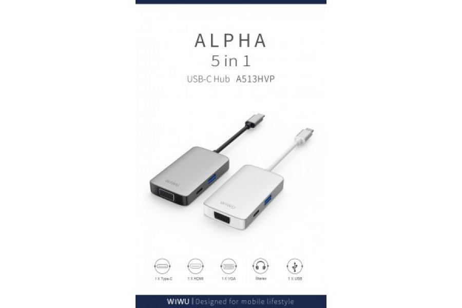 Адаптер WIWU A513HVP USB-C with 4K HDMI, USB 3.0 Ports, PD Charging, 3.5mm Audio and VGA Gray