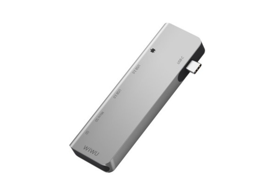 Адаптер WIWU A521T USB Type-C Hub 5-in-1 Type-C Adapter Hub with 2 USB 3.0 Ports Silver