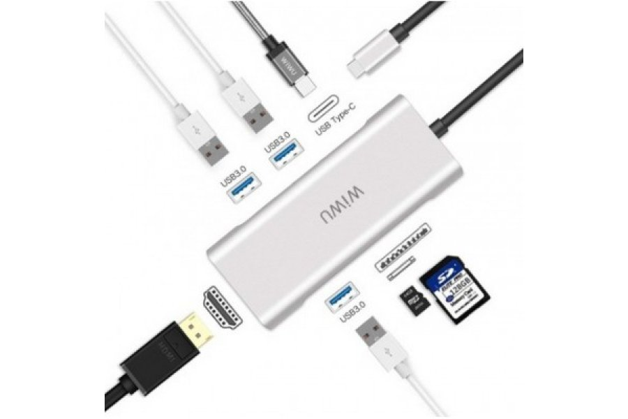 Адаптер WIWU A631STR USB-C Hub with 3 x USB 3.0, Micro SD Slot, SD Card Slot, LAN Silver