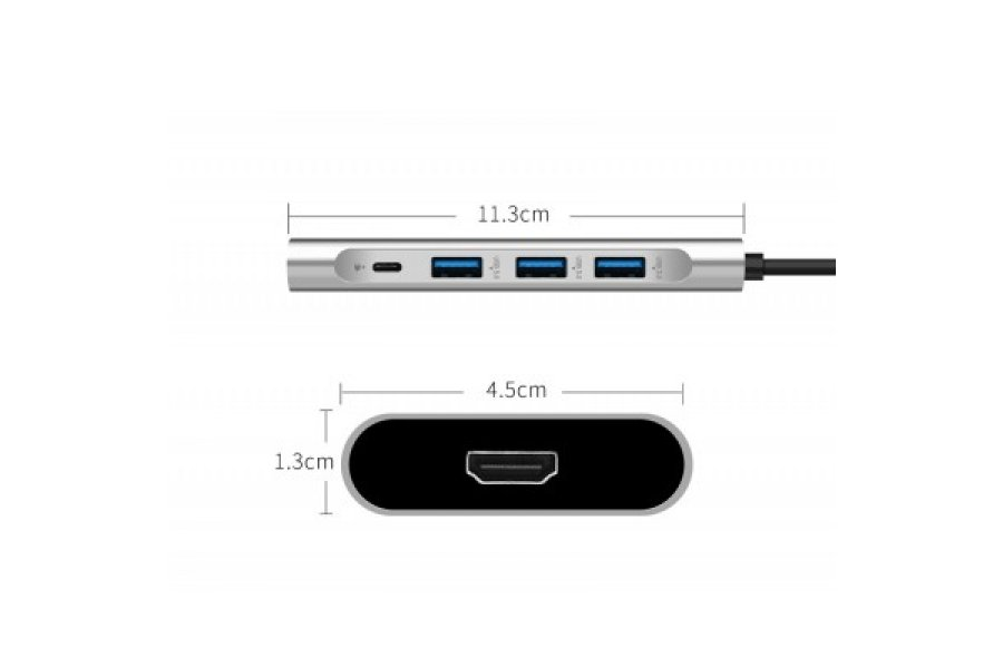 Адаптер WIWU Apollo A531H USB-C to HDMI+3xUSB3.0+USB-C Gray