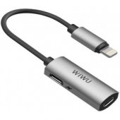 Адаптер WIWU LTO2 Lightning to 2xLightning 0.13m Gray