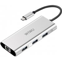 USB хаб WIWU Adapter Apollo A430R USB-C to RJ45+3xUSB3.0 HUB Silver