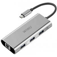 USB хаб WIWU Adapter Apollo A430R USB-C to RJ45+3xUSB3.0 HUB Gray