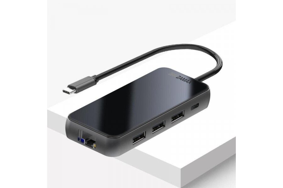 USB C Хаб 8-в-1 ZAMAX Type C HUB to 4k HDMI/HDTV + PD + 3 USB 3.0/3.1 + SD + TF + RJ45 LAN Black
