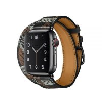 Ремешок для Apple Watch 42/44mm Hermes Double Tour Noir Allover Print